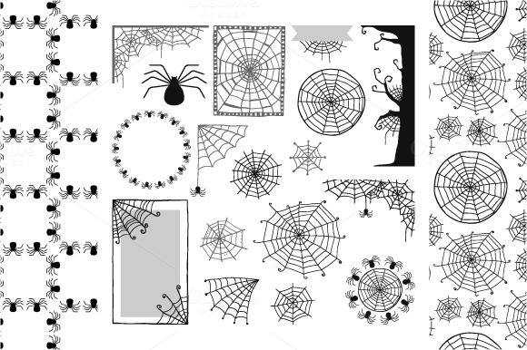 Set Of Spiders And Spider Webs