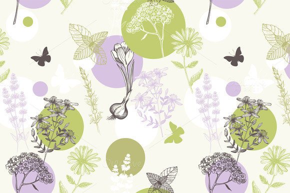 Vector Pattern With Hand Drawn Herbs
