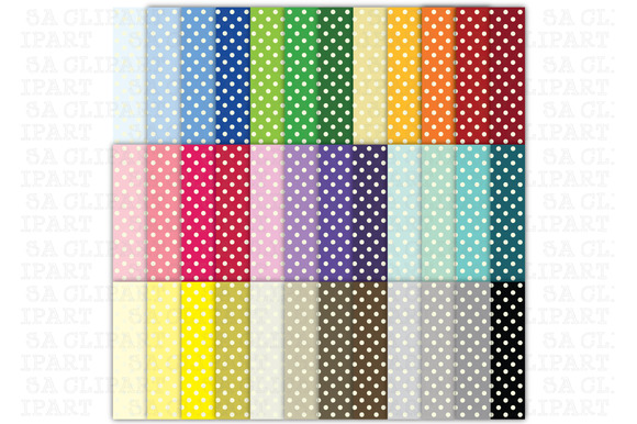 36 Rainbow Small Polka Dots Digital