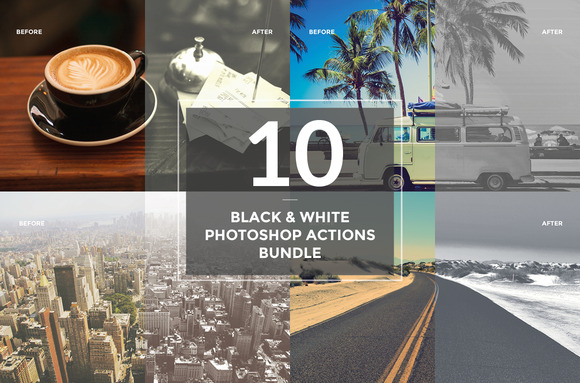 10 Black And White Actions Bundle