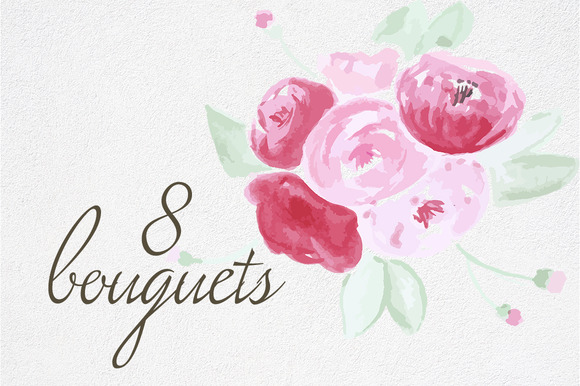 8 Watercolor Bouquets