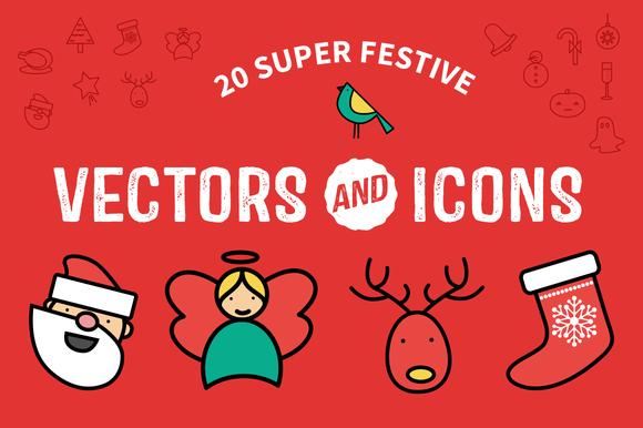 Flat Festive Icons Vectors