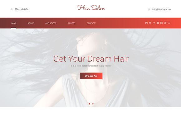 Hair Salon Responsive One Page Theme