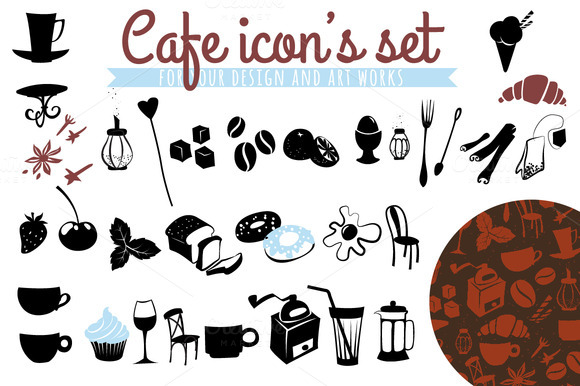 Cafe Icon S Set Plus Three Patterns