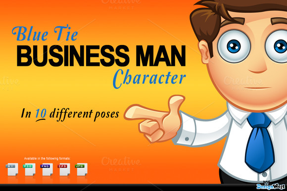 Blue Tie Business Man Character