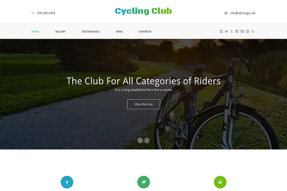 Cycling Club One Page Theme