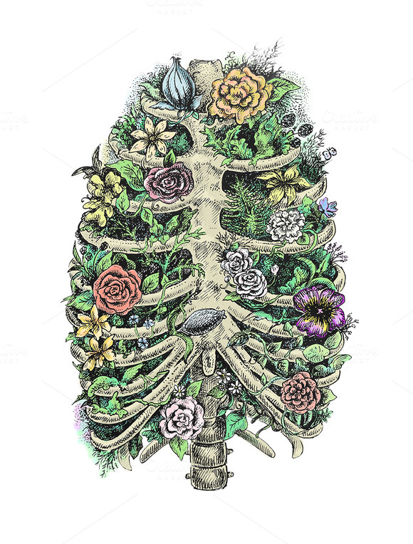 Human Ribs And Flowers