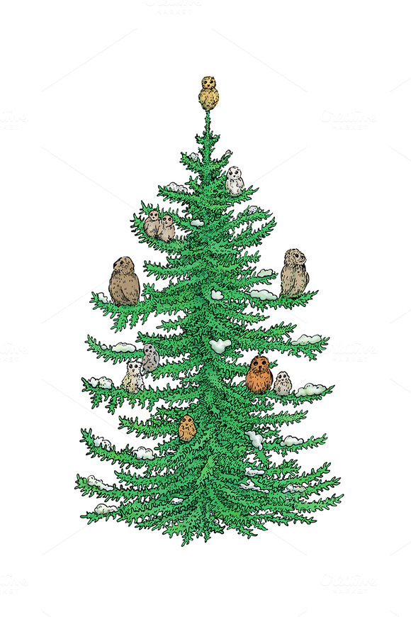 Owl Christmas Tree