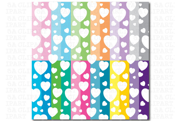 24 Hearts Shape Digital Paper Pack