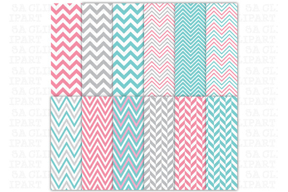 12Chevron Digital Papers Pack