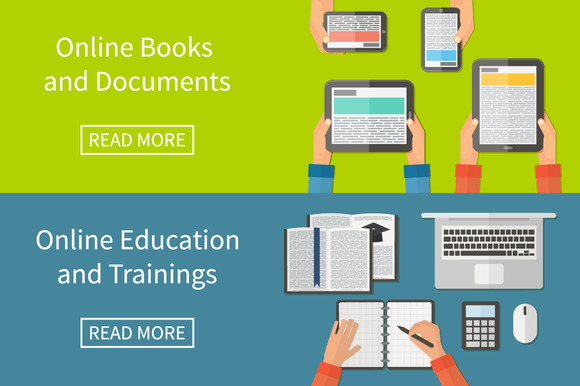 Online Education E-books Flat