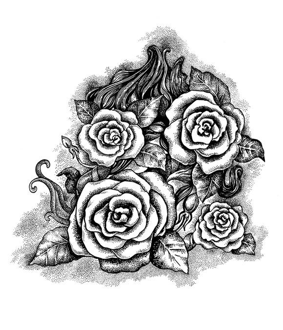 Black And White Roses