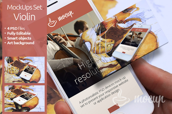 4 PSD IPhone 5 Mockups Violin