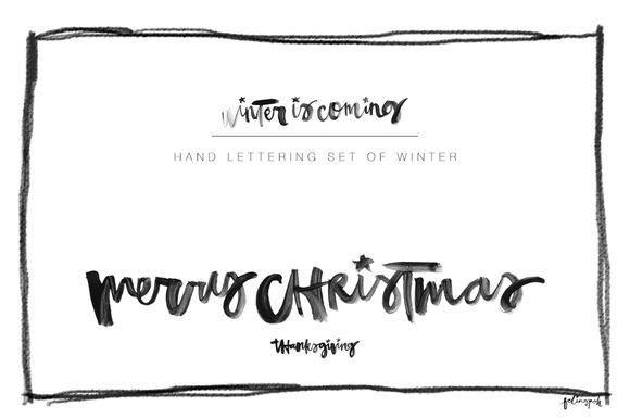 Hand Lettering Set Of Winter