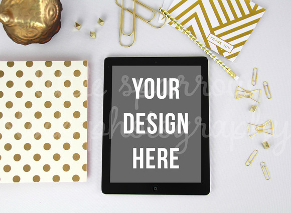 Gold Styled Desktop IPad Mock Up