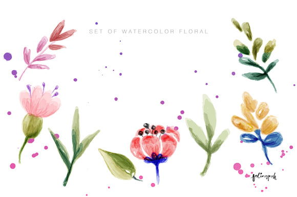 Set Of Watercolor Floral