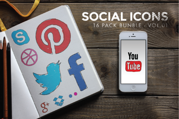 Social Icon Doodles Vol.01