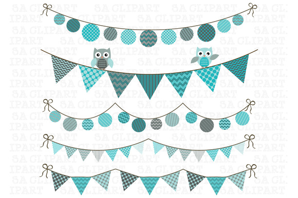 Bunting Owl Banner Clipart