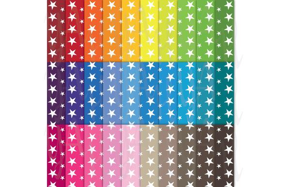 30 Rainbow Star Shape Digital Paper