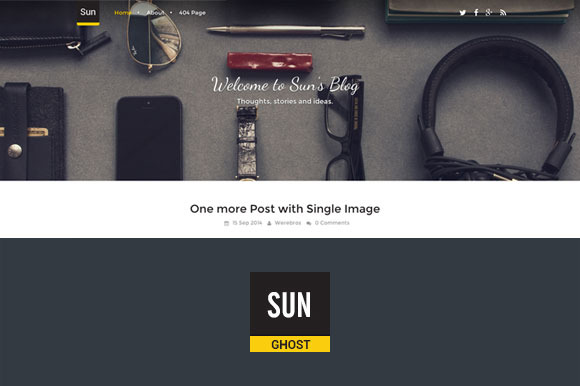 Sun Responsive Clean Ghost Theme