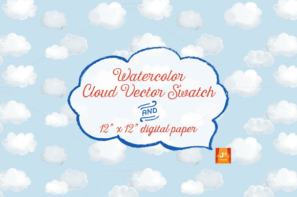 Watercolor Cloud Vector Swatch