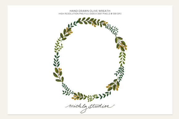 PNG Hand Drawn Olive Wreath Clip Art