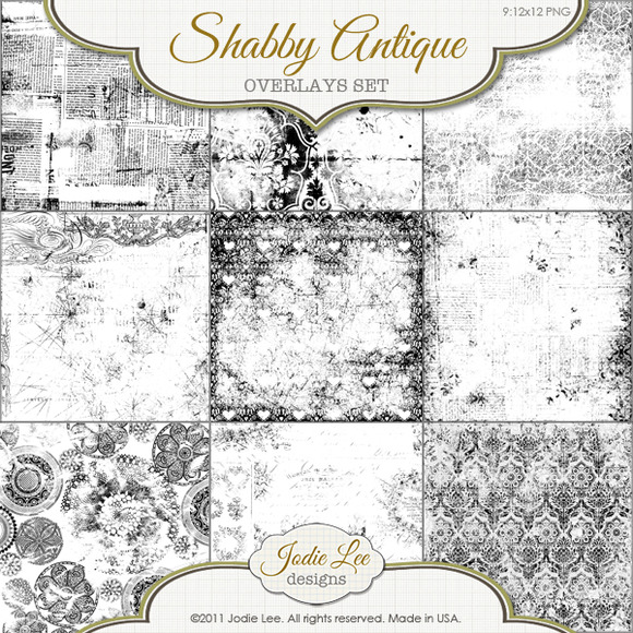 Shabby Antique Textured PNG Overlays