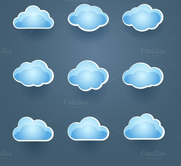 Blue Vector Cloud Icons