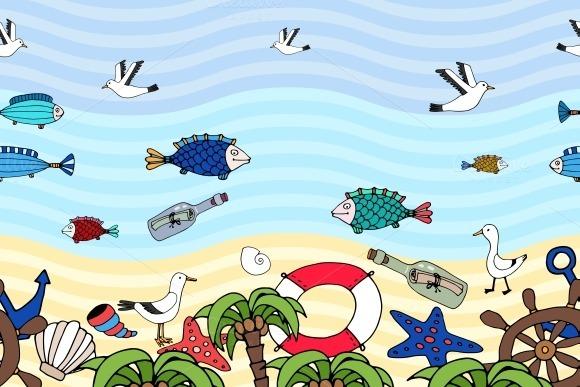 Seamless Pattern Of Tropical Beach
