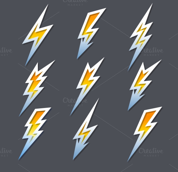 Lightning Bolts Or Electricity Icons