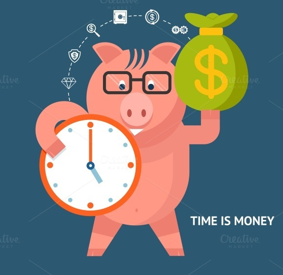 Time Is Money Banking Pig