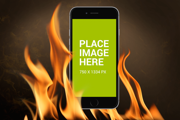 IPhone 6 Mockup On Fire