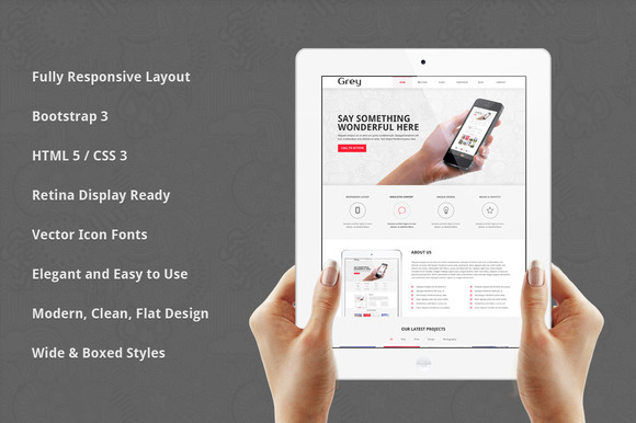 Grey Responsive Bootstrap Template
