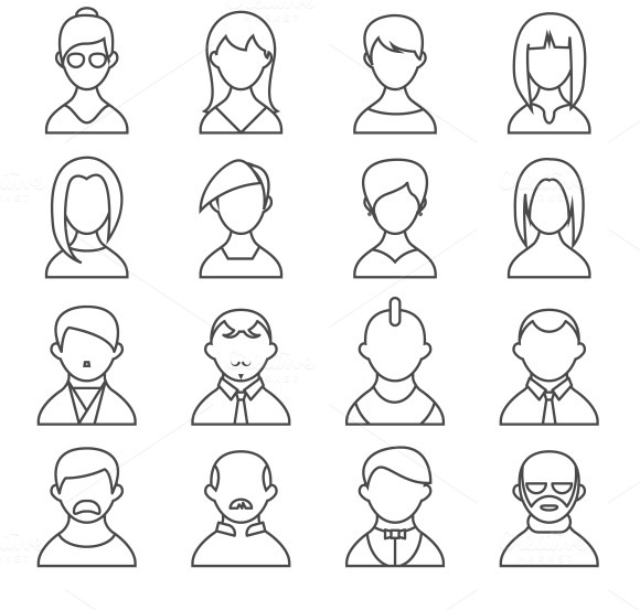 People Outline Icons