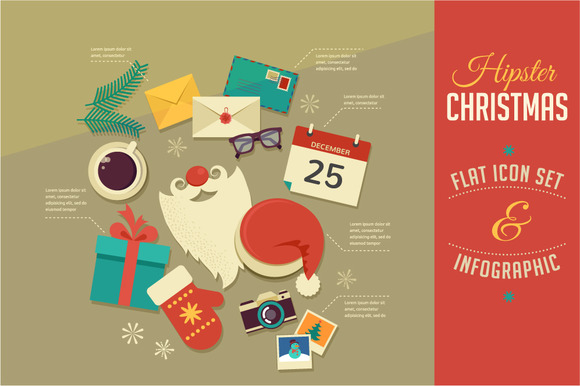 Christmas Infographics Flat Icons