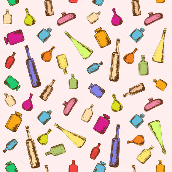 Seamless Pattern With Color Bottles