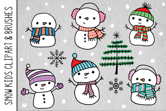 Snow Kids Clipart Brushes
