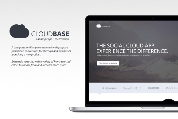 CloudBase Landing Page ~ PSD Version