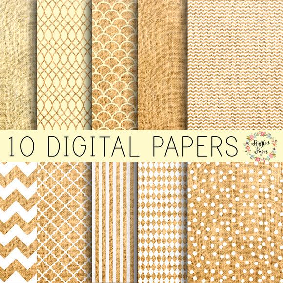 Burlap Digital Paper Pack