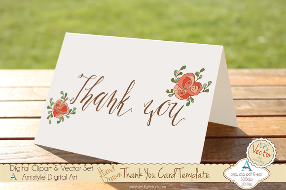 Thank You-Peach Rose-Card Template