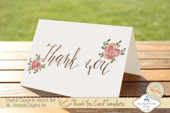 Thank You-Pink Rose-Card Template