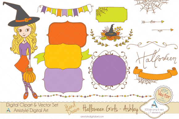 Halloween Girl-Ashley-Clipart Vector