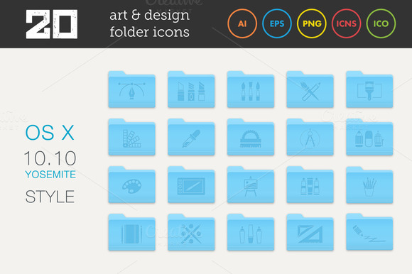 Art And Design Folder Icons Set 1
