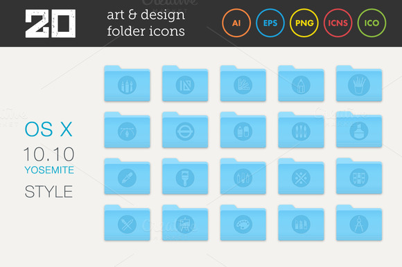Art And Design Folder Icons Set 2