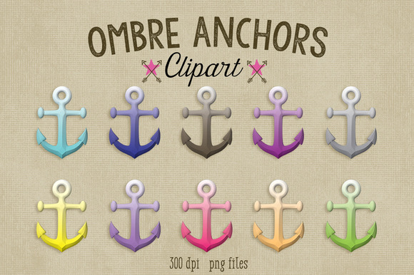 Ombre Anchors Clipart