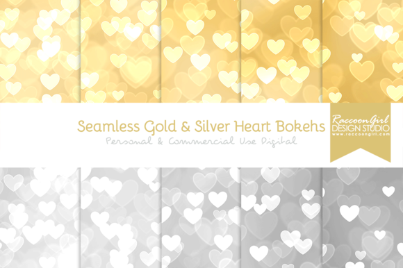 Seamless Gold Silver Heart Bokehs
