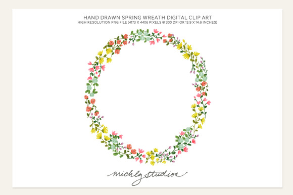 PNG Hand Drawn Spring Flowers Wreath