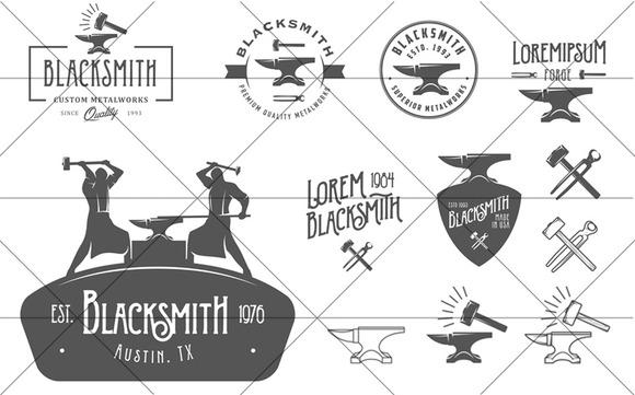 Set Of Vintage Blacksmith Logos