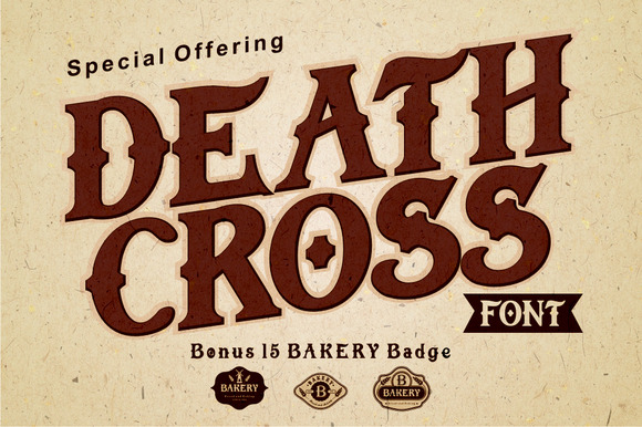 DEATH CROSS FONT With BONUS 15 Badge