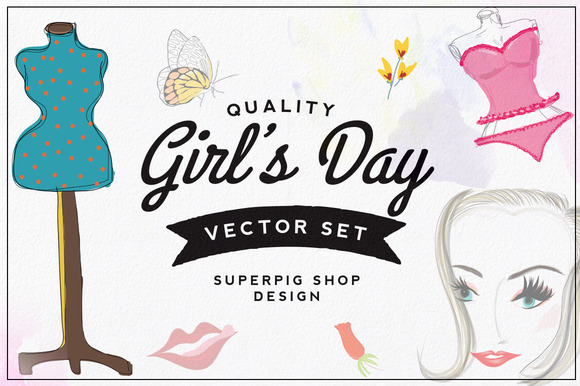 Girl S Day Vector Set